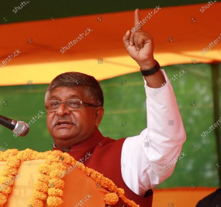 Union Law Minister Ravi Shankar Prasad addresses an election campaign rally ahead of Bihar Assembly election on October 22, 2020 in Muzaffarpur, India.