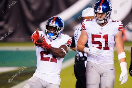 New York Giants' Jabrill Peppers reacts during the first half of an NFL football game against the Philadelphia Eagles, in Philadelphia
