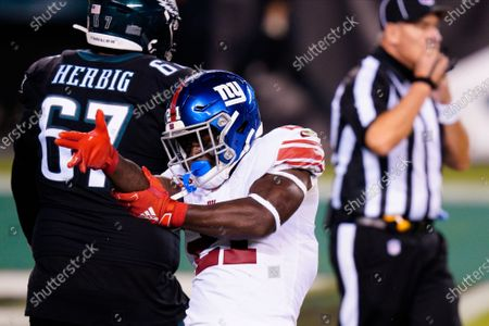 New York Giants' Jabrill Peppers reacts after a tackle during the first half of an NFL football game against the Philadelphia Eagles, in Philadelphia