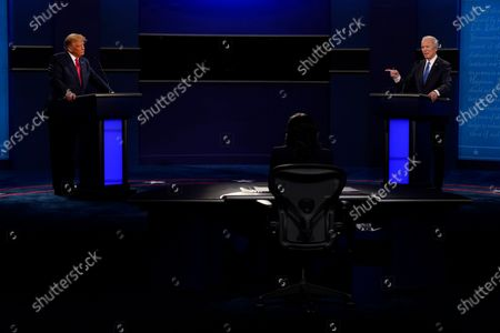 President Donald Trump, left, and Democratic presidential candidate former Vice President Joe Biden, right, during the second and final presidential debate, at Belmont University in Nashville, Tenn. Seated center is moderator Kristen Welker of NBC News