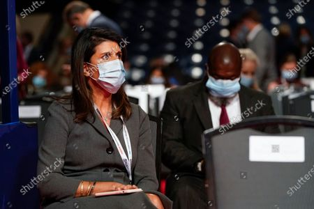 Former U.S. Ambassador to the UN Nikki Haley takes her seat before the start of the second and final presidential debate, at Belmont University in Nashville, Tenn