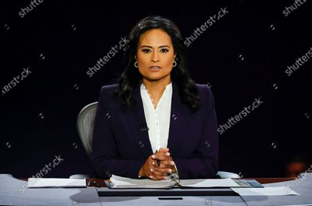 Moderator Kristen Welker of NBC News is listens as President Donald Trump and Democratic presidential candidate former Vice President Joe Biden participate in the final presidential debate at Belmont University, in Nashville, Tenn