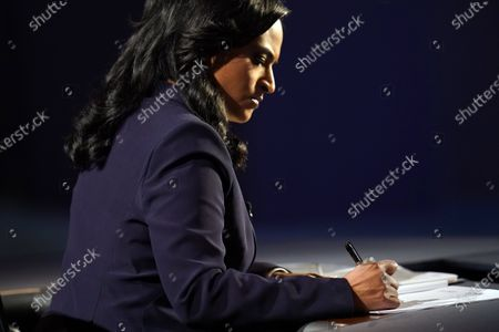 Moderator Kristen Welker of NBC News takes notes during the second and final presidential debate, at Belmont University in Nashville, Tenn