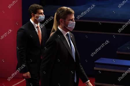 Eric Trump arrives before the second and final presidential debate, at Belmont University in Nashville, Tenn., with President Donald Trump and Democratic presidential candidate former Vice President Joe Biden