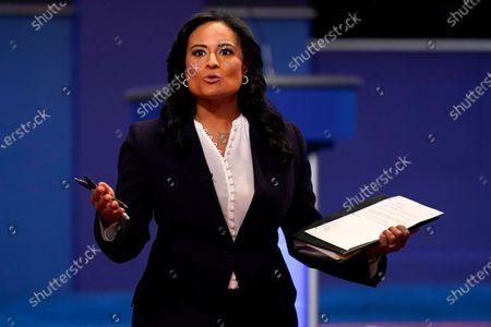 Moderator Kristen Welker of NBC News speaks before the second and final presidential debate, at Belmont University in Nashville, Tenn