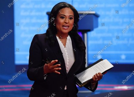 Moderator Kristen Welker of NBC News speaks before the start of the the final presidential debate between Republican presidential candidate President Donald Trump and Democratic presidential candidate former Vice President Joe Biden, on the campus of Belmont University, in Nashville, Tennessee.