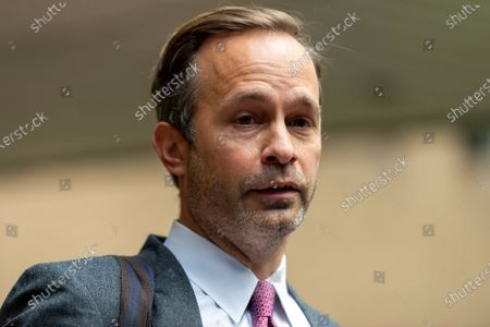 Stock Picture of Boris Beckers lawyer Christian-Oliver Moser gives a brief statement outside Southwark Crown Court after Becker's Plea and Trial Preparation for where he faces charges that he failed to comply with a legal obligation to disclose financial information when filing for bankruptcy in 2017 including a number of properties and bank accounts.