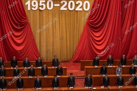Chinese President Xi Jinping (3-R) and Premier Li Keqiang (2-R) attend the event marking the 70th anniversary of China's entry into the Korean war, at the Great Hall of the People, in Beijing, China, 23 October 2020.