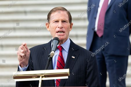U.S. Senator Richard Blumenthal (D-CT) speaks at a press conference with Senate Judiciary Democrats against the nomination of Amy Coney Barrett.