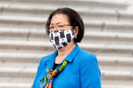 U.S. Senator Mazie Hirono (D-HI) wearing a face mask with drawings of Ruth Bader Ginsburg at a press conference with Senate Judiciary Democrats against the nomination of Amy Coney Barrett.