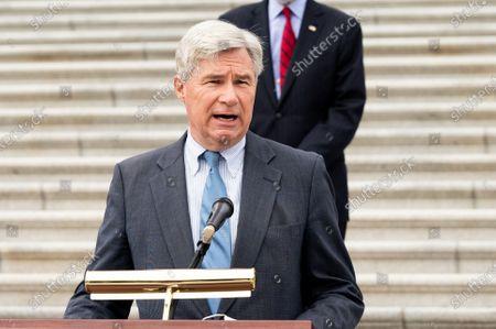 U.S. Senator Sheldon Whitehouse (D-RI) speaks at a press conference with Senate Judiciary Democrats against the nomination of Amy Coney Barrett.