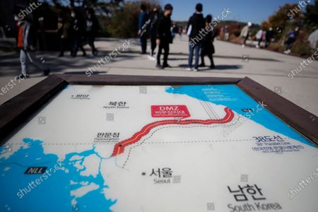 Map of two Koreas showing the Demilitarized Zone with North Korea's capital Pyongyang and South Korea's capital Seoul is seen at the Imjingak Pavilion in Paju, South Korea, . The second U.S. presidential debate between President Donald Trump and Democratic presidential candidate, former Vice President Joe Biden, was held on Thursday
