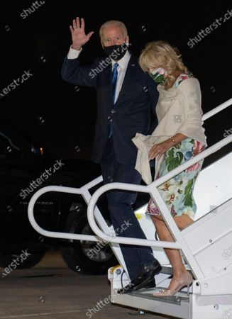 Democratic candidate former Vice President Joe Biden and his wife Jill Biden arrive at New Castle Airport in New Castle, Del., as he returns from Nashville, Tenn., after the final presidential debate against Republican candidate President Donald Trump