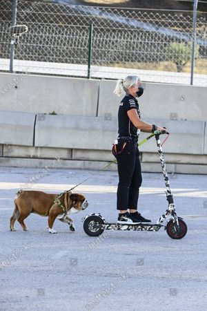 Angela Cullen, Physio for Lewis Hamilton on a scooter with the dog of Lewis Hamilton, Mercedes-AMG Petronas F1  during the 2020 Formula One Portuguese Grand Prix