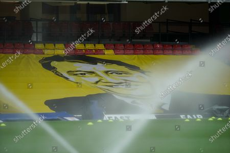 Ground View of Watford Stadium with the late Graham Taylor image.