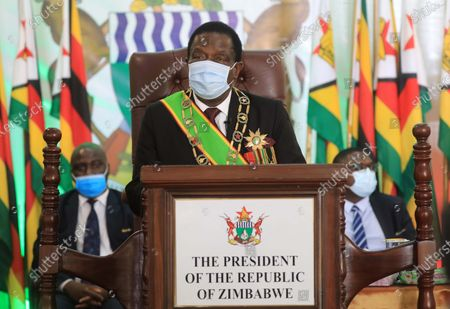 Stock Image of Zimbabwean President Emmerson Mnangagwa presents the State of the Nation Address at the State House in Harare, Zimbabwe, Oct. 22, 2020.   Mnangagwa on Thursday set out the legislative agenda for the Third Session of the Ninth Parliament of Zimbabwe, which mainly focuses on further driving economic growth.    In his virtual address to the joint sitting of both the National Assembly and Senate, Mnangagwa exhorted Parliament to expedite some of the Bills to accelerate economic growth.