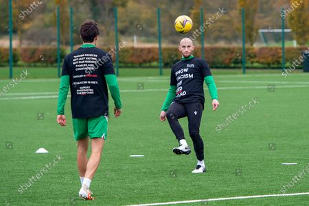 David Gray (#2) of Hibernian FC controls the ball during the Hibernian FC press conference and training session at Hibernian Training Centre, Ormiston, ahead of the game against Kilmarnock FC