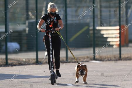 Lewis Hamilton's dog gets walked by his trainer Angela Cullen; Algarve International Circuit, Portimao, Portugal; Formula One, Portugal Grand Prix, Practice Day.