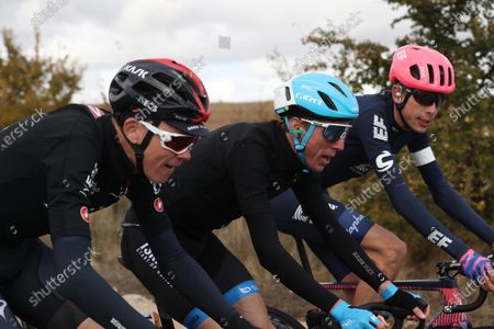 British cyclist Chris Froome (L) of Ineos Grenadiers and Irish Daniel Martin (C), of Israel Start-Up Nation team in action during the fourth stage of the Vuelta a Espana 2020 cycling race, over 191,7 kilometers between Garray Numancia and Ejea de los Caballeros, region of Soria, northern Spain, 23 October 2020.