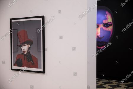 Stock Picture of View of the exhibition 'Marilyn Manson: 21 years in the hell' that exhibits photography of British photographer Perou on US singer Marilyn Manson held at La Termica Cultural Center of Malaga, Spain, 23 October 2020. The exhibition runs from 23 October to 22 January 2021.