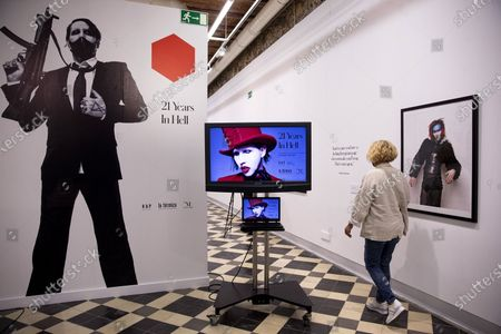 View of the exhibition 'Marilyn Manson: 21 years in the hell' that exhibits photography of British photographer Perou on US singer Marilyn Manson held at La Termica Cultural Center of Malaga, Spain, 23 October 2020. The exhibition runs from 23 October to 22 January 2021.