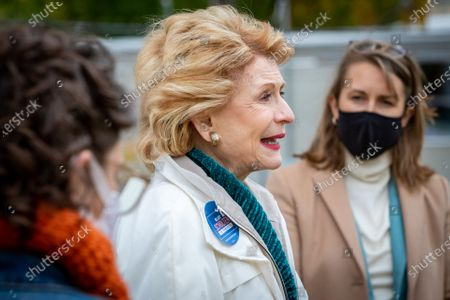 U.S. Senator Debbie Stabenow-D (center) campaigns for Hillary Scholten-D for Congress on October 15, 2020, in Grand Rapids, Michigan just a few weeks ahead off the U.S. general election. Scholten is running against Peter Meijer-R for the seat held by U.S. Representative Justin Amash-L.