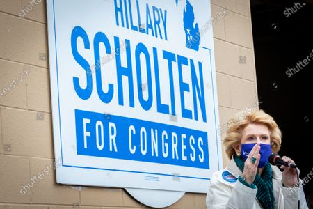 U.S. Senator Debbie Stabenow-D campaigns for Hillary Scholten-D for Congress on October 15, 2020, in Grand Rapids, Michigan just a few weeks ahead off the U.S. general election. Scholten is running against Peter Meijer-R for the seat held by U.S. Representative Justin Amash-L.