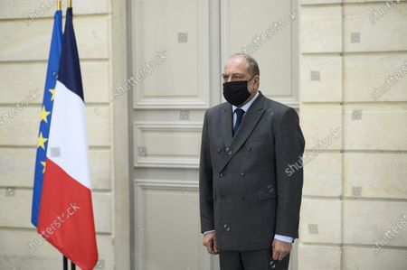 French Prime Minister Jean Castex, with French justice Minister Eric Dupond Moretti, delivers a speech during a press conference after Defense Council at Elysee Palace, in Paris, on October 23, 2020.