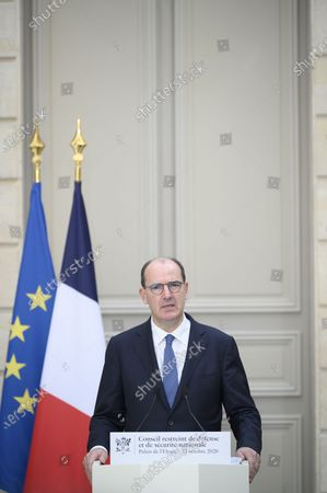 French Prime Minister Jean Castex delivers a speech during a press conference after Defense Council at Elysee Palace, in Paris, on October 23, 2020.