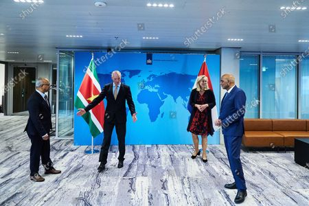 Dutch Minister of Foreign Affairs Stef Blok (2-L) and Minister of Foreign Trade and Development Cooperation Sigrid Kaag (2-R) together with Surinamese Foreign Minister Albert Ramdin (L) and Minister of Finance Armand Achaibersing (R) after their meeting in the Hague, the Netherlands, 23 October 2020. The Surinamese ministers visit to the Netherlands is a follow-up to the previous visit in August 2020.