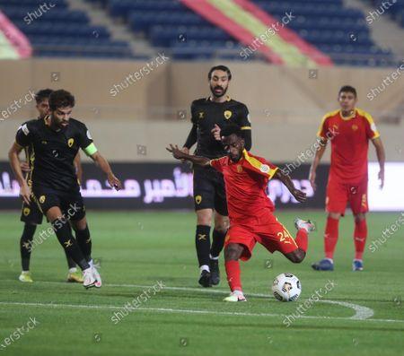 Al-Quadisiya player Hassan Abu Sharara in action during the Saudi Professional League soccer match between Al-Quadisiya and Damac at Prince Saud bin Jalawi Stadium, al-Khobar, Saudi Arabia, 23 October 2020.