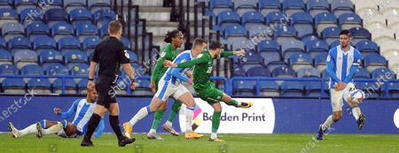 Preston North End's Alan Browne scores his sides first goal