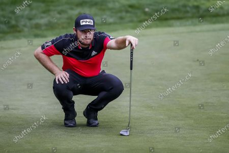Tyrrell Hatton of England on the ninth green during the second round of the Zozo Championship PGA Tour golf tournament at the Sherwood Country Club in Thousand Oaks, California, USA, 23 October 2020.