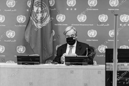 Editorial photo of Secretary-General Antonio Guterres press on Libya, New York, United States - 23 Oct 2020