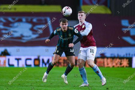 Leeds United midfielder Jamie Shackleton (46) passes the ball during the Premier League match between Aston Villa and Leeds United at Villa Park, Birmingham