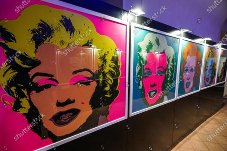 Portraits of US actress Marilyn Monroe by US artist Andy Warhol are on display in the Andy Warhol exhibition, entitled 'Super Pop,' in Nichelino, near Turin, Italy, 23 October 2020. The exhibit runs at the Palazzina di caccia of Stupinigi from 24 October 2020 to 31 January 2021.