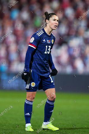 Stock Photo of Jane Ross (#13) of Scotland during the UEFA Womens European Championship Qualifier match between Scotland Women and Albania Women at Tynecastle Stadium, Gorgie