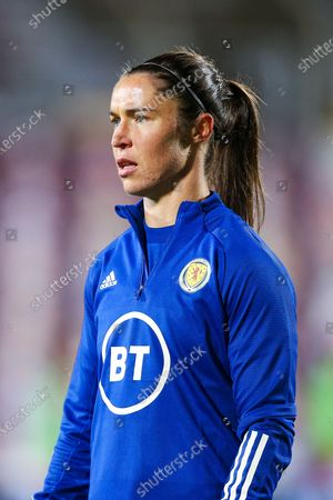 Jane Ross (#13) of Scotland warms up ahead of the UEFA Womens European Championship Qualifier match between Scotland Women and Albania Women at Tynecastle Stadium, Gorgie
