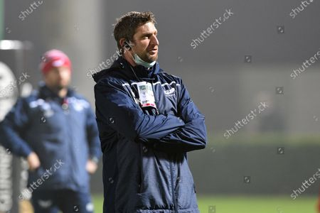 Scarlets forwards coach Richard Kelly during the warm up