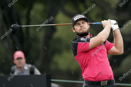 Tyrrell Hatton hits from the 10th tee during the second round of the Zozo Championship golf tournament, in Thousand Oaks, Calif