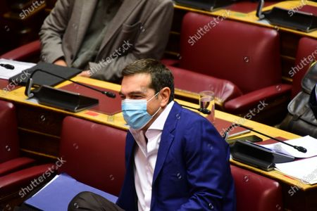 President of Syriza party and head of opposition Alexis Tsipras in Hellenic parliament.