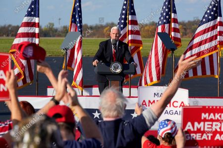 Vice President Mike Pence delivers remarks at a campaign rally at Allegheny County Airport in West Mifflin, Pa