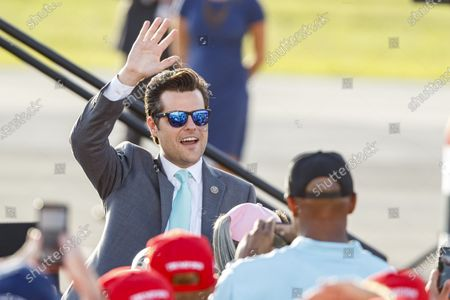 US Representative for Florida, Republican Matt Gaetz, waves to the crowd while waiting for US President Donald J. Trump during a campaign rally in Pensacola, Florida, USA, on 23 October 2020. The United States will hold its presidential election on 03 November.