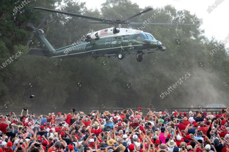 US President Donald J. Trump arrives aboard Marine One to attend his Make America Great Again Rally at the Villages Polo Club in the Villages, Florida, USA, 23 October 2020. The United States will hold its presidential election on 03 November.