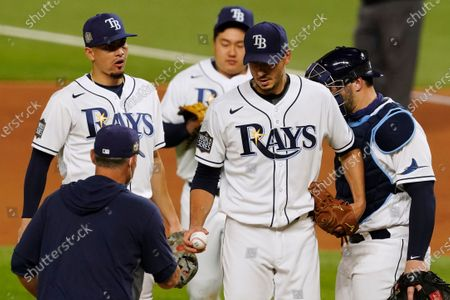 Tampa Bay Rays starting pitcher Charlie Morton leaves the game against the Los Angeles Dodgers during the fifth inning in Game 3 of the baseball World Series, in Arlington, Texas