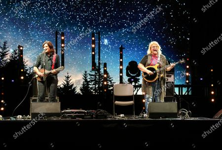 Stock Image of Amy Ray and Emily Saliers with the Indigo Girls perform during the Live From the Drive-In concert series at the Ameris Bank Amphitheatre, in Atlanta