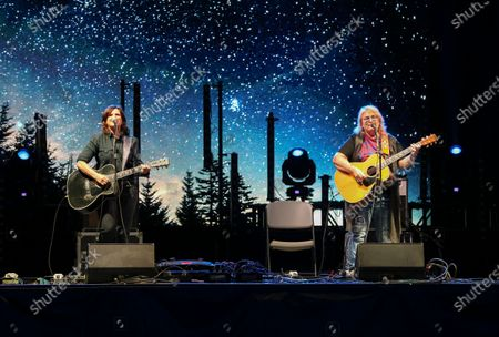 Stock Picture of Amy Ray and Emily Saliers with the Indigo Girls perform during the Live From the Drive-In concert series at the Ameris Bank Amphitheatre, in Atlanta