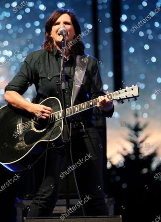 Amy Ray with the Indigo Girls perform during the Live From the Drive-In concert series at the Ameris Bank Amphitheatre, in Atlanta