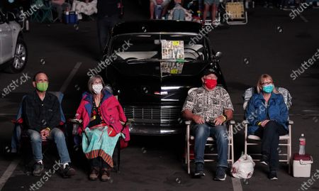 Beach Boys fans watch the band's performance during the Concerts In Your Car series at the Ventura County Fairgrounds, in Ventura, Calif