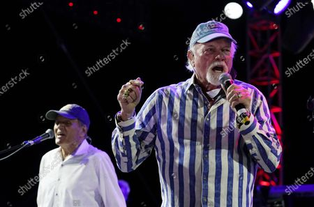 Mike Love, right, and Bruce Johnston of The Beach Boys perform during the Concerts In Your Car series at the Ventura County Fairgrounds, in Ventura, Calif
